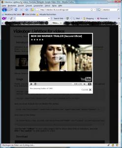 Videobox- Lightbox for videos, Youtube, Metacafe, Google Video, iFilm_1255261185988